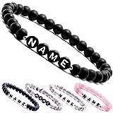 Personalisierbare Armbänder | Partnerarmbänder mit Onyx Perlen | Perlenarmband | individueller Schmuck für Herren und Frauen (weitere verfügbar)