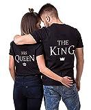 AJUN shop King Queen Shirts Couple Shirt Pärchen T-Shirts Paar Tshirt König Königin Kurzarm 1 Stücke, Queen-schwarz, M