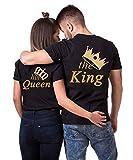 Daisy for U King Queen Pärche Shirts Set für Paar Partner Look T-Shirt Velentienstag Geschenk Tops Paare Baumwolle mit Aufdruck 1 Stücke