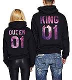 King Queen 01 Hoodies Partner Look Pärchen Hoodie Set Sweatshirt 2 Stücke (Sky-Schwarz, King-L+Queen-S)