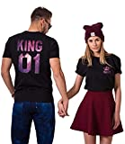 King Queen Shirts Couple Shirt Pärchen T-Shirts Für Zwei Paar Tshirt König Königin Kurzarm 2 Stücke, Sky-schwarz, KING-M+QUEEN-M