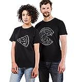 Pärchen T-Shirts Set Shirts für Paar Partner Look Baumwolle Liebhaber Pizza Tshirt (schwarz-Herr-L+Dame-M)