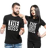 Couple Shirts Pärchen T-Shirts für Zwei Paar Shirts Set Partnerlook T Shirt Baumwolle Schwarz 2 Stücke (Schwarz, Men-L+Women-M)