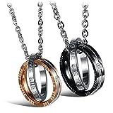 URBANSTYLES - Edelstahl Schmuck Partner-Kette für Verliebte - Paar Halskette mit Doppelt Ring Anhänger und Gravur für Sie und Ihn - 'Eternal Love'