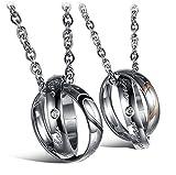 URBANSTYLES - Edelstahl Schmuck Partner-Kette für Verliebte - Paar Halskette mit Doppelt Ring Anhänger und Gravur für Sie und Ihn - 'Real Love'