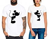 Kiss Partner Look Pärchen T-Shirt Set für Pärchen als Geschenk, Farbe:Weiss;Größe:Damen Gr. M + Herren Gr. M