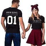 Pärchen t Shirt für Zwei Stücke Baumwolle Couple Appare Tops Oberteil Schhwarz Weiß Aufdruck(King-M+bk-Queen-S)