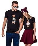 King Queen T-Shirt Set für Paar Partnerlook Bär Tshirt Partner Pärchen Geschenke Symbolische Liebe für König Königin (Schwarz, King-XL + Queen-M)