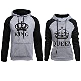 918coshiert King Queen Pullovers Pärchen Kapuzenpullover Hoodies Gestreifte Ärmel Paare Pulli Couple Matching Sweatshirts Set(Herren L + Damen M Schwarz#King+Queen)