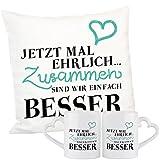Geschenke 24: Geschenkset - Jetzt mal ehrlich - romantisches Kuschelkissen und Tasen im Set - Sofakissen Zierkissen originelles Liebesgeschenk mit Herz