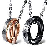 Cupimatch Valentinstagsgeschenk 2PCS Pärchen Kette Herren Damen Edelstahl verflochtene Ringe Anhänger Paar Halskette mit Gravur, Weihnachten 45cm, 50cm Kette