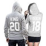 King Queen + Wunschnummer Set 2 Hoodies Pullover Pulli Liebe Love Pärchen Couple Grau (King Gr. L + Queen Gr. M)