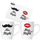 Brubaker 'Mr. Right & Mrs. Always Right Tassen Set aus Keramik - Grußkarte und Geschenkpackung