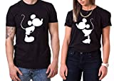 Kiss Mouse King Queen Partner Look Pärchen Valentinstag T-Shirt Set, Größe:L;Partner Shirts:Damen T-Shirt Schwarz