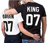 Über 20 Designs auswählbar Partner Look Pärchen T-Shirt Set King Queen für Pärchen als Geschenk in versch. Farben S-4XL