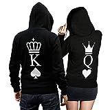 King Queen Pullover Pärchen Set - 2 Hoodies für Paare - Couple-Pullover - Geschenk-Idee - Herz/Pik -schwarz (King M + Queen M)
