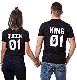 Pärche Shirts Set King Queen Tshirt Paar T-Shirts Partner Look Baumwolle Lustige 2 Stücke (Schwarz+Schwarz,King-M+Queen-M)