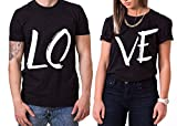 Love King Queen Partner Look Pärchen Valentinstag T-Shirt, Größe:L;Partner Shirts:Damen T-Shirt Weiß