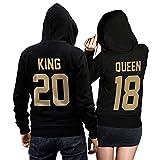 King Queen + Wunschnummer Set 2 Hoodies Pullover Pulli Liebe Love Pärchen Couple Schwarz/Gold (King L + Queen M)