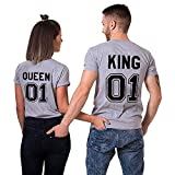 King queen shirts Partner Look Pärchen T-Shirt Set Pärchen (Grey-King-L+Queen-M)