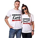 King Queen Shirts Couple Shirt Pärchen T-Shirts Paar Tshirt König Königin Kurzarm 1 Stücke (M,King-Weiß)