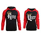Stephaee Pärchen King Queen Kapuzenpullover Set Pärchen Pullover Hoodies Sweatshirts Rot Herren L +Damen M