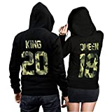 CVLR King Queen Pullover Pärchen Set Camouflage- 2 Hoodies für Paare - Couple-Pullover - Geschenk-Idee (King M + Queen M)