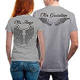 VIVAMAKE 2 Partnerlook T Shirts Für Damen und Herren mit Lustige Aufdruck Angel and Guardian