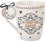 Sheepworld 59260Lieblingstasse Du machst mich glücklich, Cappuccino-Tasse, mit Geschenk-Anhänger